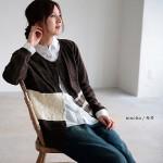soulberry(ソウルベリー)2016秋の着回しコーデ。30代・40代のナチュラル服。【ボーダー×レース切り替えカーディガン】