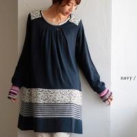 soulberry(ソウルベリー)2016秋の着回しコーデ。30代・40代のナチュラル服。【裾パッチワークレース切り替えワンピース】