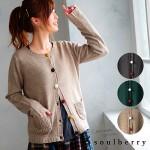 soulberry(ソウルベリー)2016秋の着回しコーデ。30代・40代のナチュラル服。【カラーくるみボタンニットカーディガン】