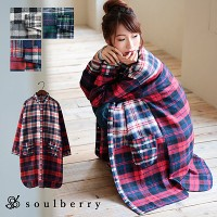 soulberry(ソウルベリー)2016秋の着回しコーデ。30代・40代のナチュラル服。【チェック柄パッチワークシャツワンピース】