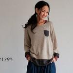 30代・40代に人気のレディースファッション通販。秋のコーディネート2016。【チェック切り替えレイヤード風プルオーバー】