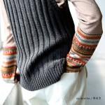30代・40代に人気のレディースファッション通販。秋のコーディネート2016。【フェアアイル柄袖切り替えクルーネックカットソー】