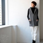 30代・40代に人気のレディースファッション通販。秋のコーディネート2016。【フード付きニットロングベスト】