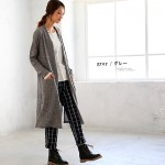 soulberry(ソウルベリー)2016秋冬の着回しコーデ。30代・40代のナチュラル服。【リブニットソースリット入りロングカーディガン】