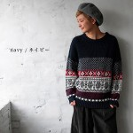 30代・40代に人気のレディースファッション通販。秋冬のコーディネート2016。【畦編み(あぜあみ)ノルディックニットプルオーバー】