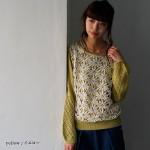 soulberry(ソウルベリー)2017春の着回しコーデ。30代・40代のナチュラル服。【お花レース切り替え透かし編みニットプルオーバー】