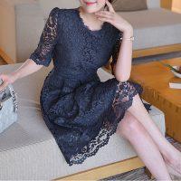 レースフレアワンピース。韓国の上品でエレガントな大人ファッション通販BADDIARY(バッドダイアリー)2017春夏の人気アイテム