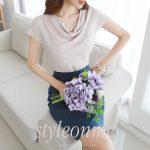 ドレープネックラインブフレンチスリーブブラウス。韓国のエレガントで上品なお嬢様ファッション通販Styleonme(スタイルオンミ)2017春夏の人気アイテム
