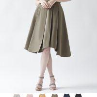アシンメトリータックフレアスカート。大人女子のプチプラキレイめファッションtitivate(ティティベイト)2017春夏流行のトレンドアイテム