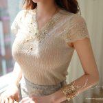 フレンチスリーブレースTシャツ。韓国のエレガントで上品なお嬢様ファッション通販Styleonme(スタイルオンミ)2017春夏の人気アイテム
