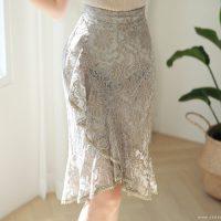 刺繍レースラインスカート。韓国のエレガントで上品なお嬢様ファッション通販Styleonme(スタイルオンミ)2017春夏の人気アイテム