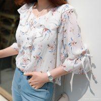 スリーブリボン花柄フリルブラウス。韓国のエレガントで上品なお嬢様ファッション通販Styleonme(スタイルオンミ)2017春夏の人気アイテム