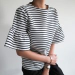 クルーネックフリルスリーブボーダートップス。韓国の上品なナチュラルファッション通販LITTLEBLACK(リトルブラック)2017春夏の人気アイテム