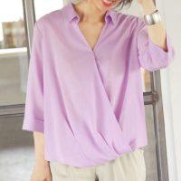 リネン混サマーカシュクールシャツ。大人の上品でキレイめファッションSTYLEDELI(スタイルデリ)2017春夏流行のトレンドアイテム