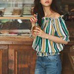 マルチストライプオフショルブラウス。プチプラで安可愛いファッションGRL(グレイル)2017春夏流行のトレンドアイテム