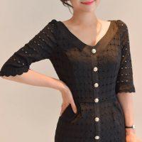 ボタンポイントレースワンピース。韓国の上品でエレガントな大人ファッション通販BADDIARY(バッドダイアリー)2017春夏の人気アイテム