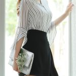 シースルーストライプシフォンブラウス。韓国のエレガントで上品なお嬢様ファッション通販Styleonme(スタイルオンミ)2017春夏の人気アイテム