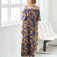 レーヨン花柄2WAYオフショルダーオールインワン。プチプラでおしゃれなファッションRe:EDIT(リエディ)2017春夏流行のトレンドアイテム